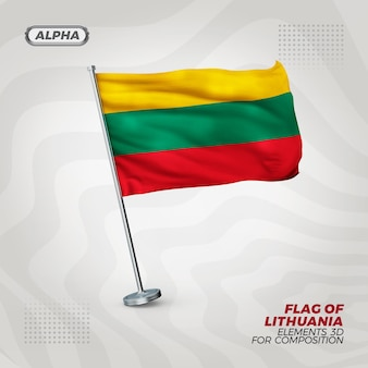 Drapeau texturé 3d réaliste de lituanie pour la composition