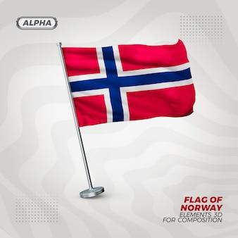 Drapeau texturé 3d réaliste de norvège pour la composition