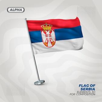 Drapeau texturé 3d réaliste de serbie pour la composition