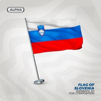 Drapeau texturé 3d réaliste de slovénie pour la composition