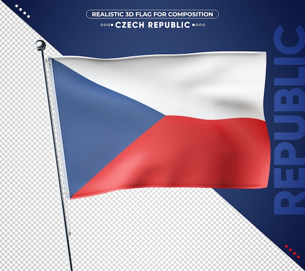 Drapeau texturé 3d république tchèque pour la composition