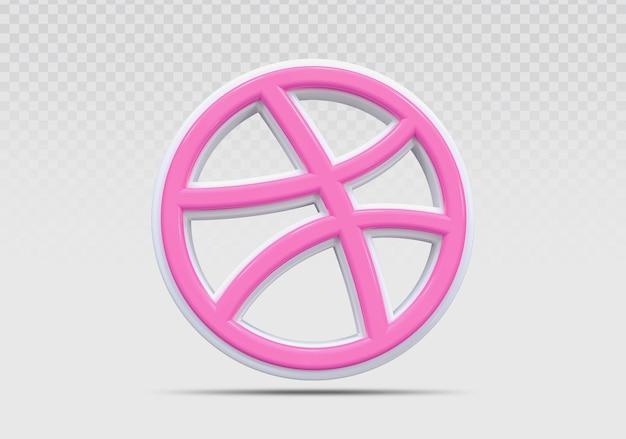 Dribbble icône 3d render concept créatif