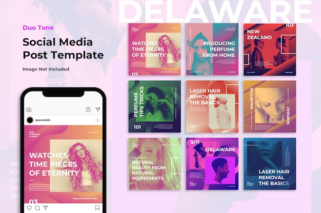 Duotone music conseils de médias sociaux modèles de bannières instagram