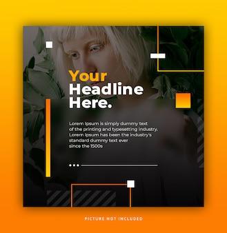 Dynamique des tendances elegante jaune orange instagram post template