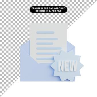 E-mail d'illustration 3d avec un nouveau badge