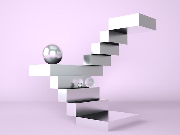 Échelle avec un podium pour la présentation de nouveaux produits en rendu 3d