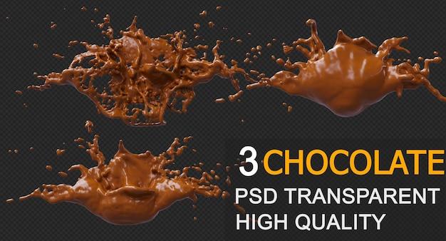 Éclaboussure de chocolat avec la conception de rendu 3d de gouttelettes