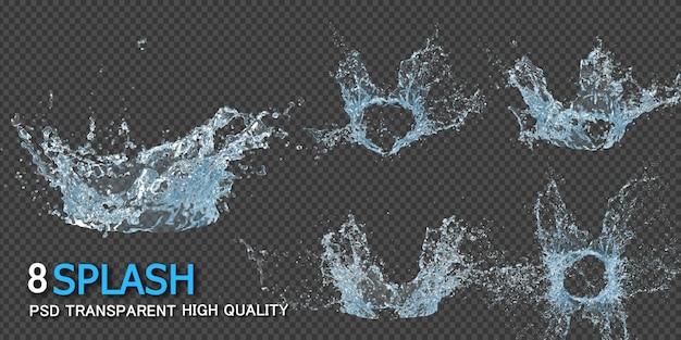 Éclaboussure d'eau de la couronne transparente