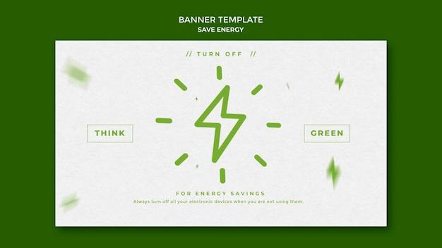 Économisez le modèle de bannière horizontale d'énergie