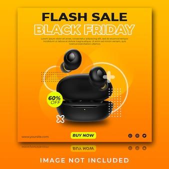 Écouteurs ou casque flash vente modèle de publication instagram