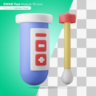 Écouvillon médical tube à essai vérification du virus illustration 3d icône 3d couleur modifiable isolée