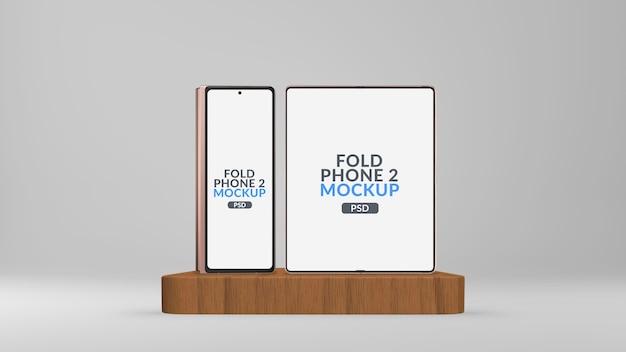 Écran principal et secondaire du téléphone tablette pliable sur la maquette de scène isolée