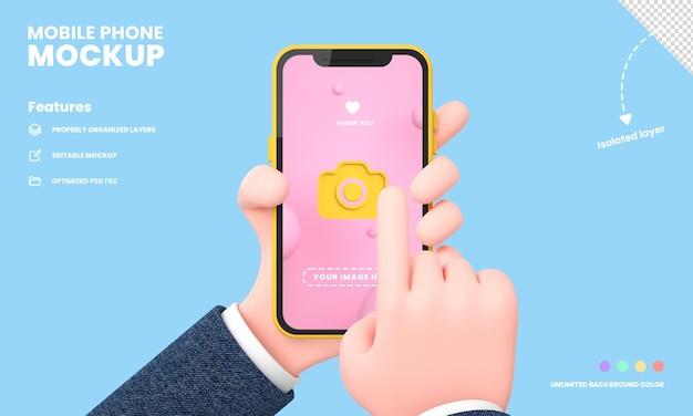 Écran de smartphone ou maquette pro de téléphone portable isolée avec la main tenant la position du téléphone rendu 3d