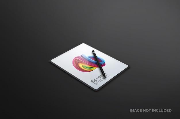 Écran de tablette numérique noir avec maquette de stylo isolé