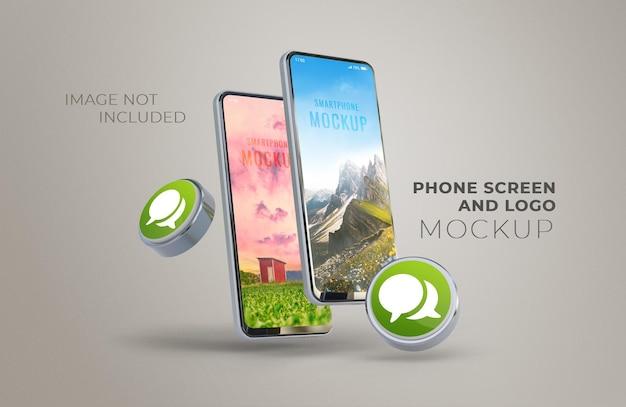 Écran de téléphone et maquette de logo