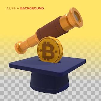 Éducation à la crypto-monnaie pour l'avenir. illustration 3d