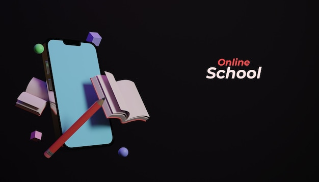 Éducation scolaire en ligne 3d avec smartphone