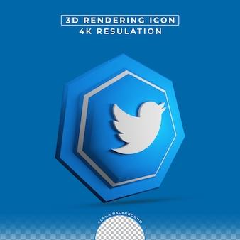 Effet de bouton 3d icône twitter de médias sociaux