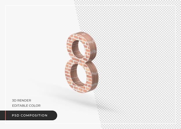 Effet brique numérique numéro 8 rendu 3d isolé