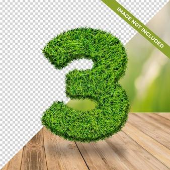 Effet d'herbe 3d numéro 3 avec fond isolé