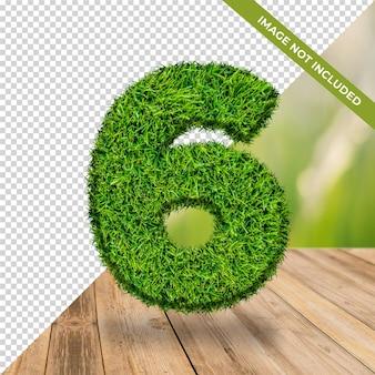 Effet d'herbe 3d numéro 6 avec fond isolé