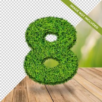 Effet d'herbe 3d numéro 8 avec fond isolé