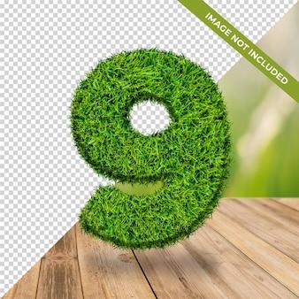 Effet d'herbe 3d numéro 9 avec fond isolé
