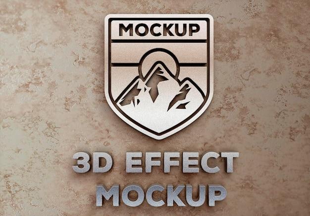 Effet de logo 3d sur les murs de pierre