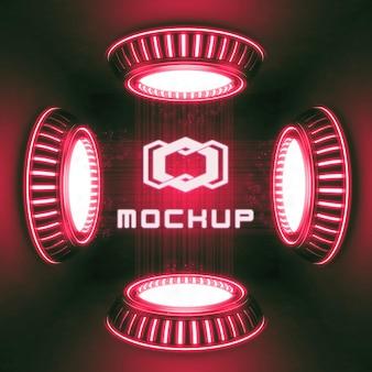 Effet de logo futuriste rendu 3d