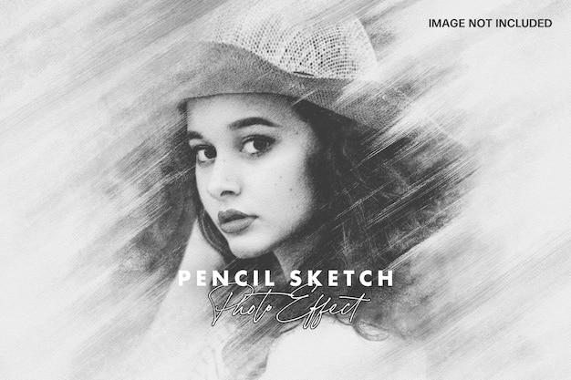 Effet de photo de croquis de crayon taché