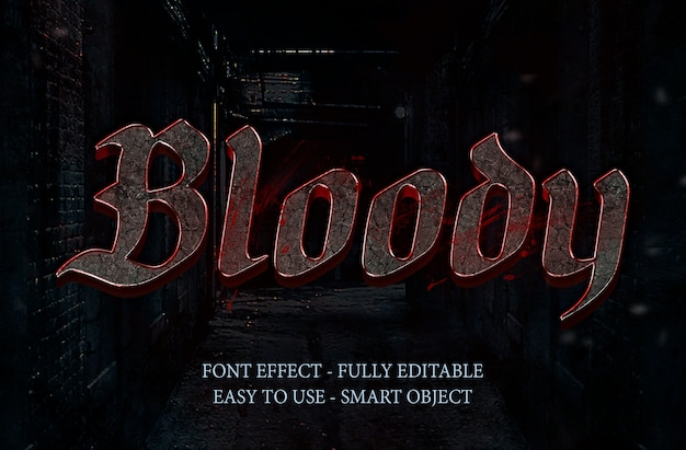 Effet de police 3d blood stone et effet métallique