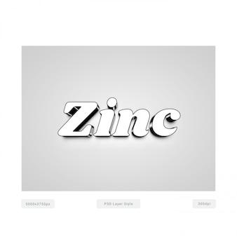 Effet de style 3d en chrome-zinc