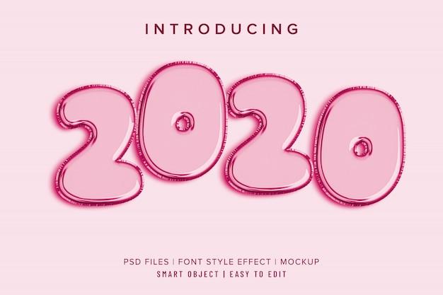 Effet de style de police 2020 baloon 3d