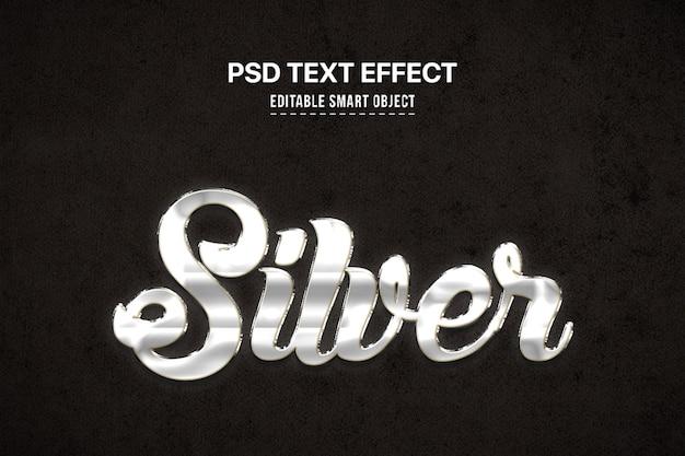 Effet de style de texte 3d argent