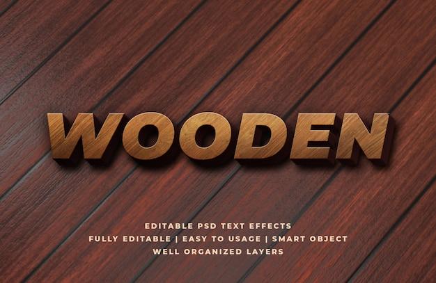 Effet de style de texte 3d en bois