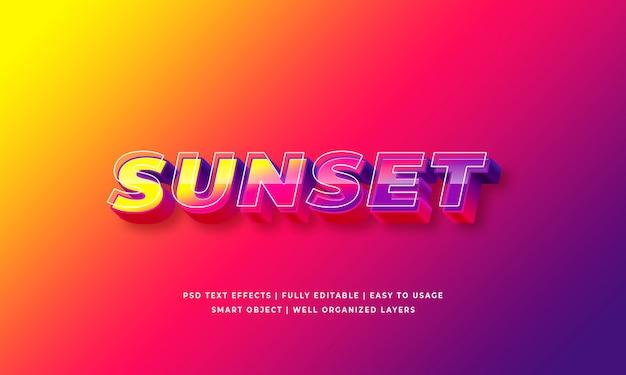 Effet de style de texte 3d coucher de soleil