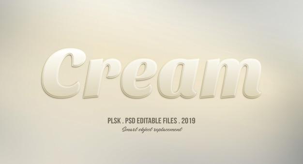 Effet de style de texte 3d crème