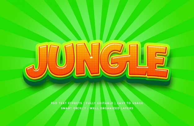 Effet de style de texte 3d dessin animé jungle