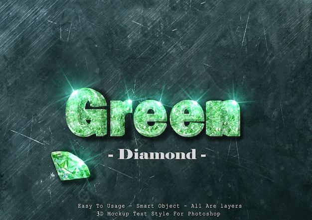 Effet de style de texte 3d diamant vert
