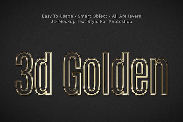 Effet de style de texte 3d doré