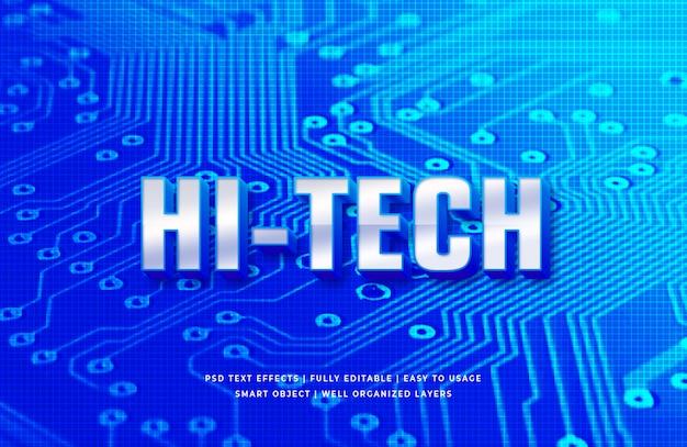 Effet de style de texte 3d haute technologie