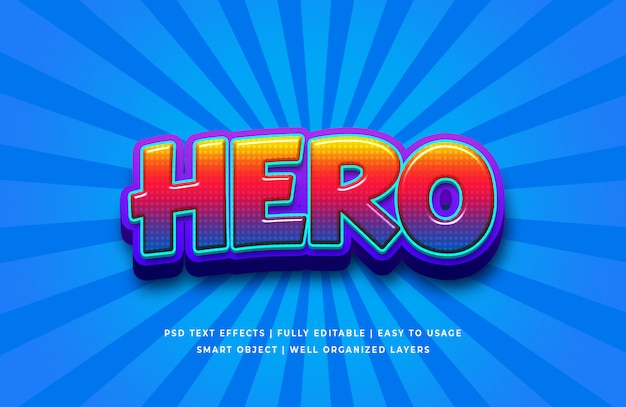 Effet de style de texte 3d héros dessin animé