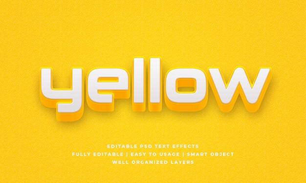 Effet de style de texte 3d jaune