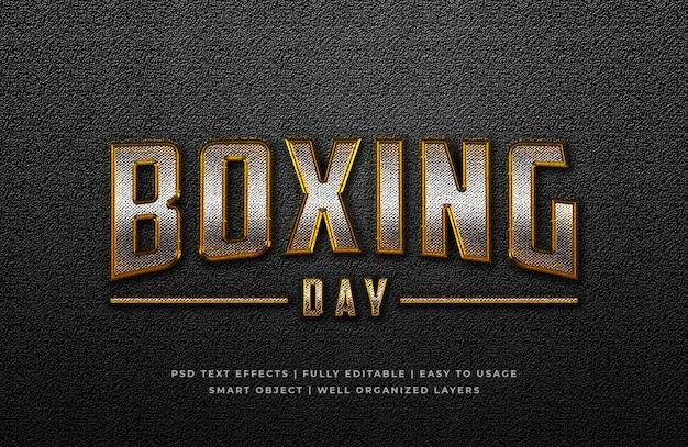 Effet de style de texte 3d jour de boxe