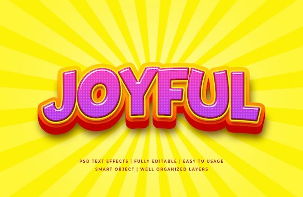 Effet de style de texte 3d joyeux dessin animé