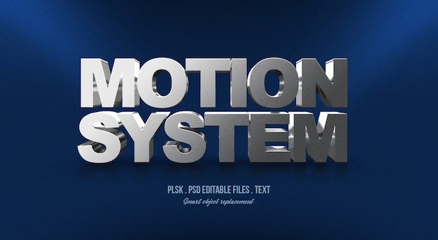 Effet de style de texte 3d motion system
