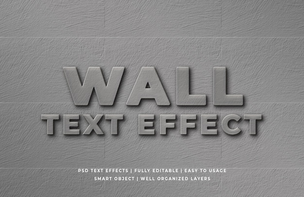 Effet de style de texte 3d mur