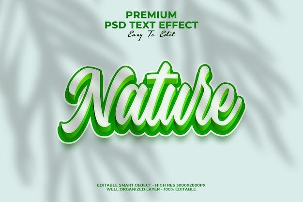 Effet de style de texte 3d nature verte