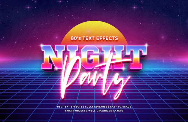 Effet de style de texte 3d night party