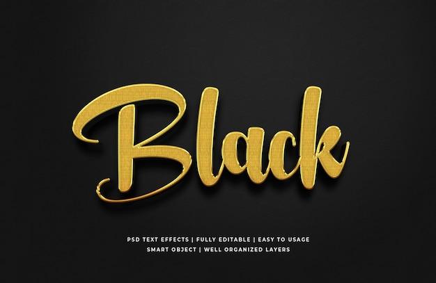 Effet de style de texte 3d or noir